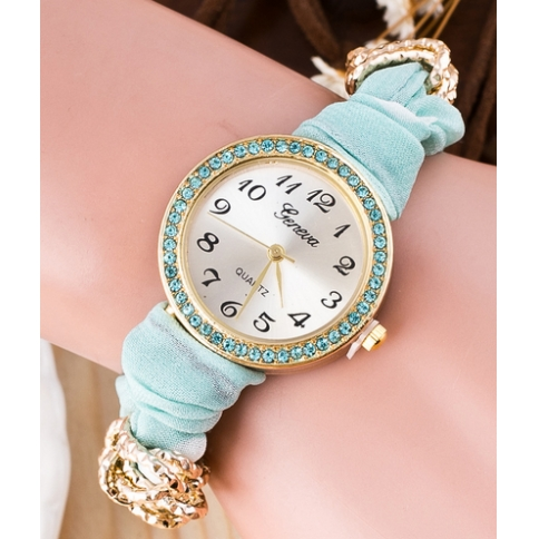 Silk printing belt quartz glass dial women watch Bohemian style